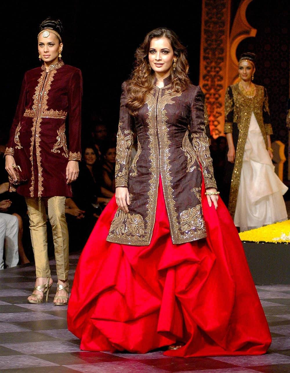 Bollywood actress Dia Mirza at the ramp during the India Bridal Fashion Week 2013 in Mumbai.