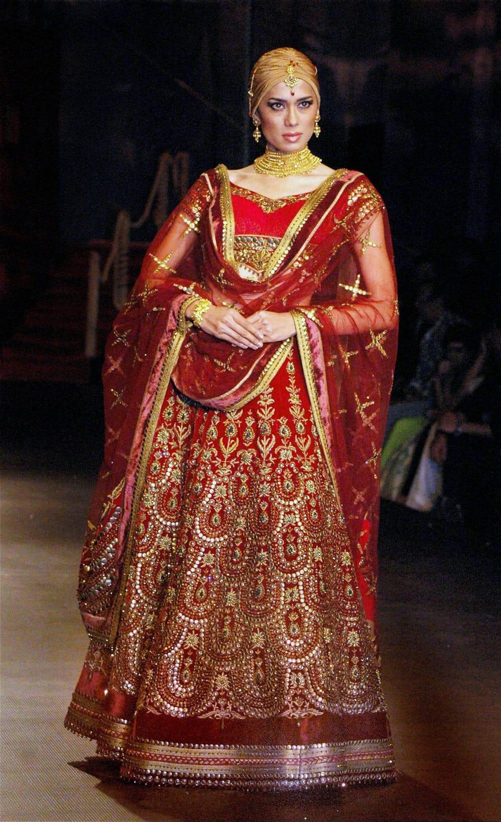 A model walks the ramp at the India Bridal Fashion Week in Mumbai.