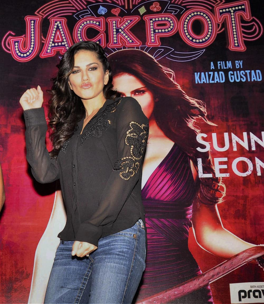 Sunny Leone during a promotional event for her upcoming film in Gurgaon.