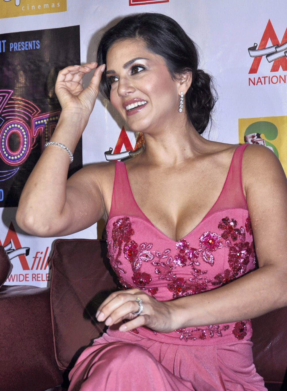 Sunny Leone during a promotional event for her upcoming film.