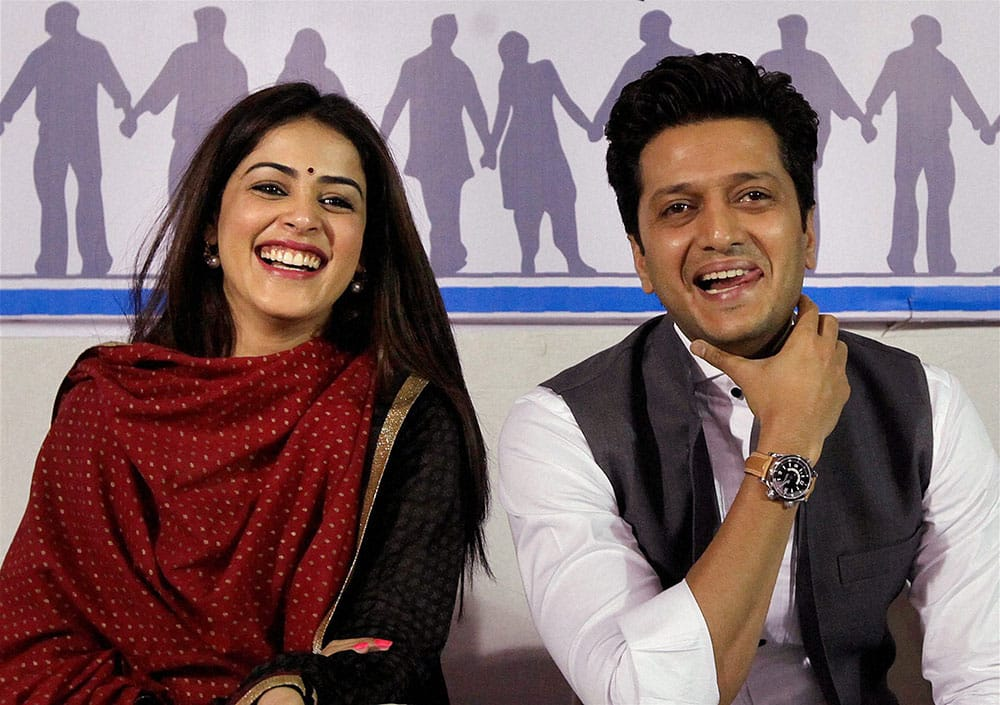 Bollywood actor Ritesh Deshmukh with wife Genelia Deshmukh at the manifesto launch of NSUI (National Students' Union of India) in Mumbai.