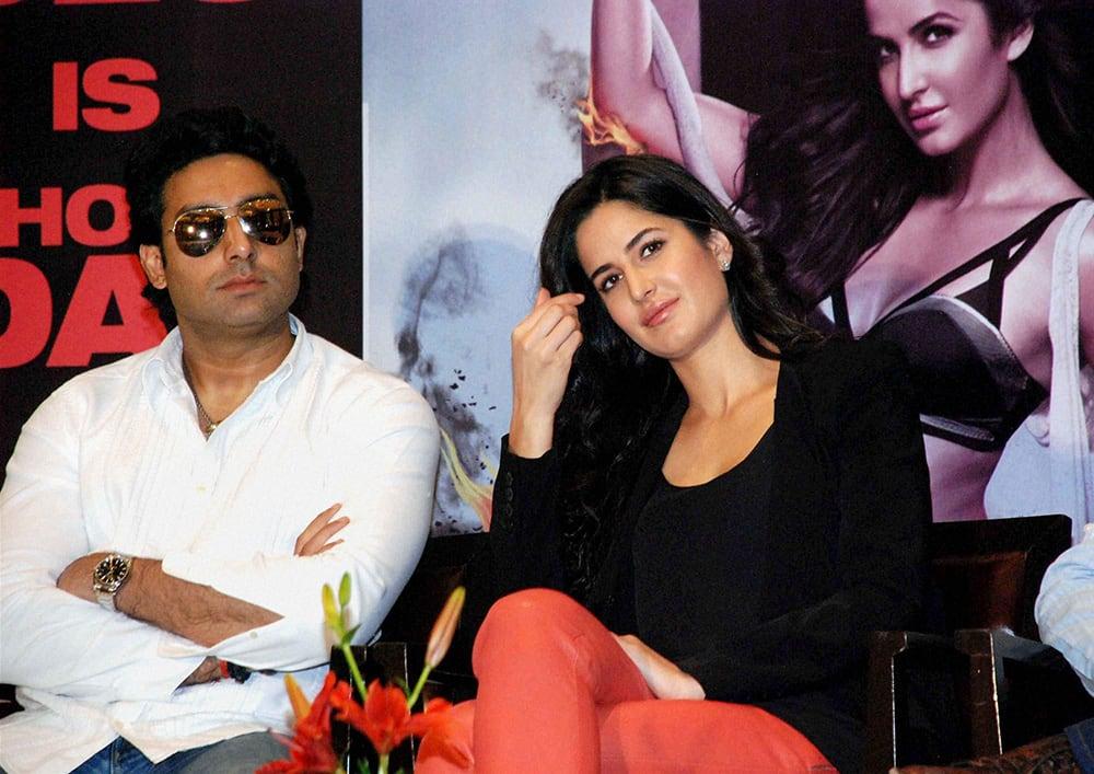 Bollywood actors Abhishek Bachchan and actress Katrina Kaif during a press conference of upcoming film Dhoom-3.