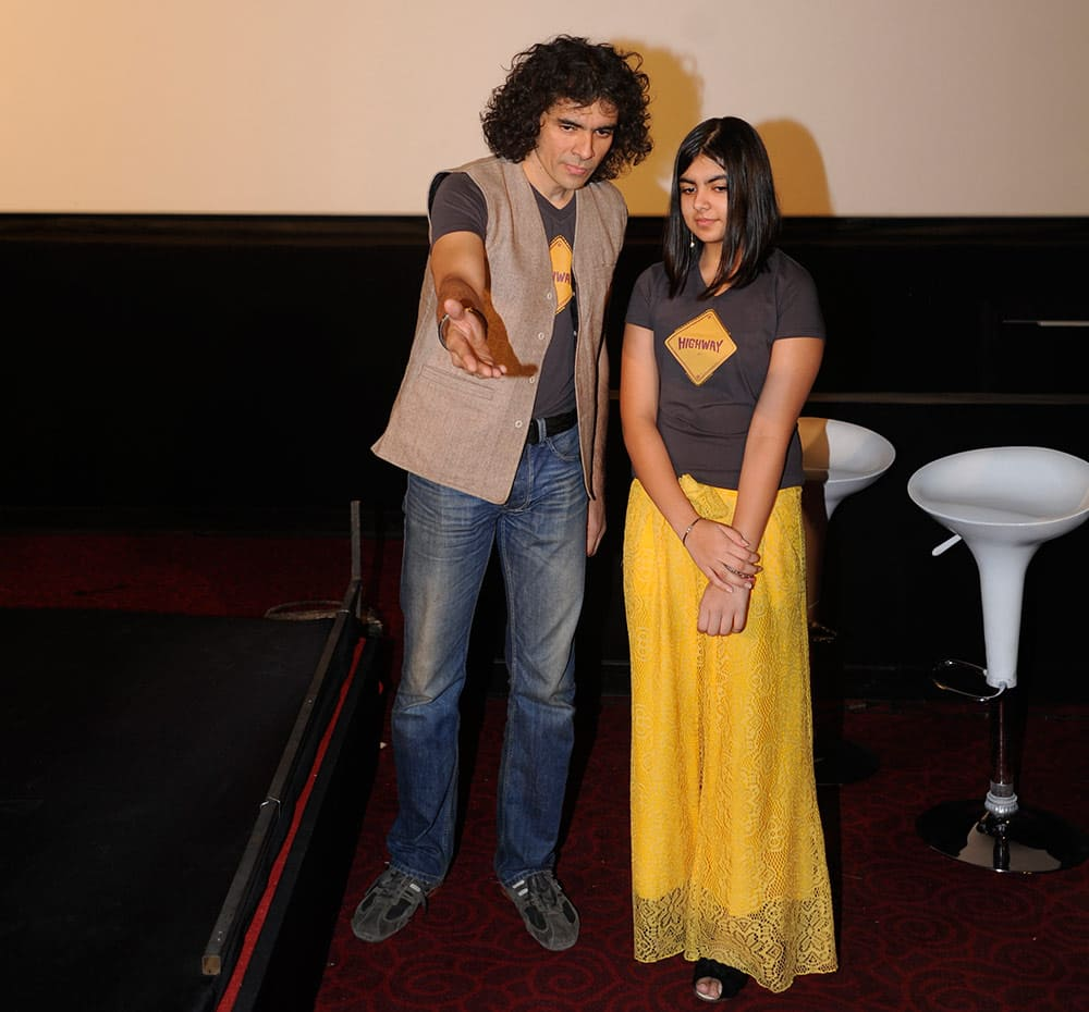 `Imtiaz Ali and Ida Ali` at the launch of first look of film Highway in Mumbai. Pic Courtesy: DNA