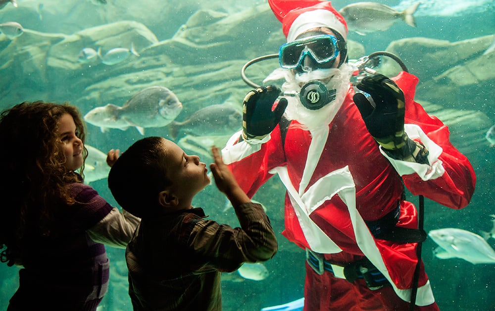 A child greets a diver dressed as Santa Claus and waving at children at the Creta Aquarium in the city of Iraklio, on the Greek island of Crete.