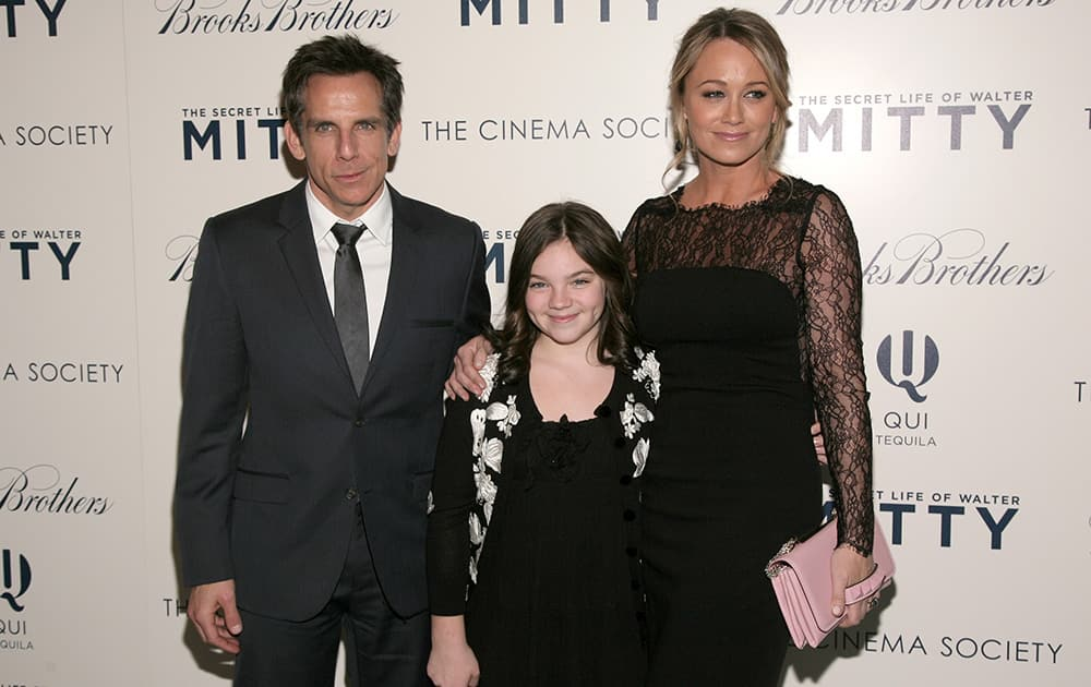 Actor Ben Stiller, left, his wife, actress Christine Taylor, right, and their daughter Ella Olivia Stiller, center, attend a screening of `The Secret Life of Walter Mitty` presented by 20th Century Fox with the Cinema Society & Brooks Brothers in New York.