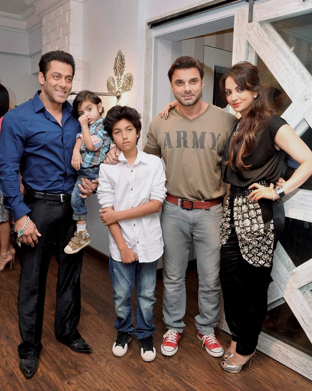 Salman Khan and Suhail Khan with family during an event in Mumbai.