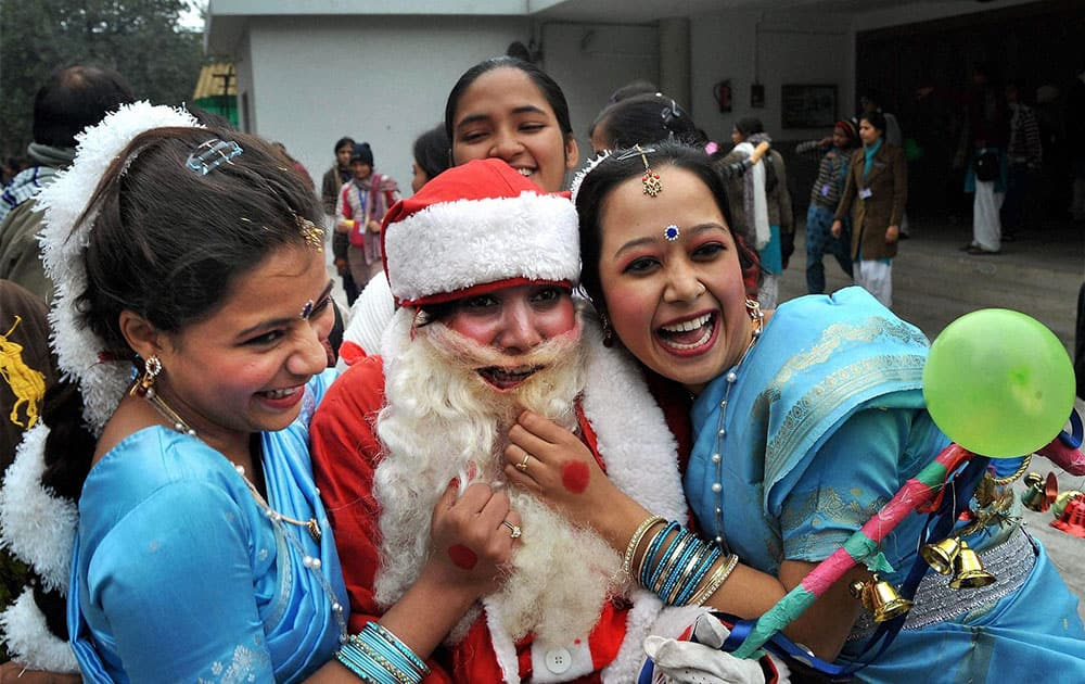 Students of Patna Women's College celebrating Christmas in their college in Patna.