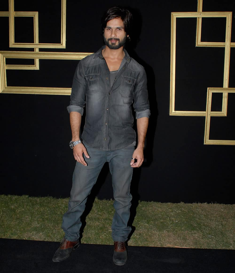 `STUBBLE STAYS: Shahid Kapoor` at the success party of Deepika Padukone in Mumbai. Pic Courtesy: DNA