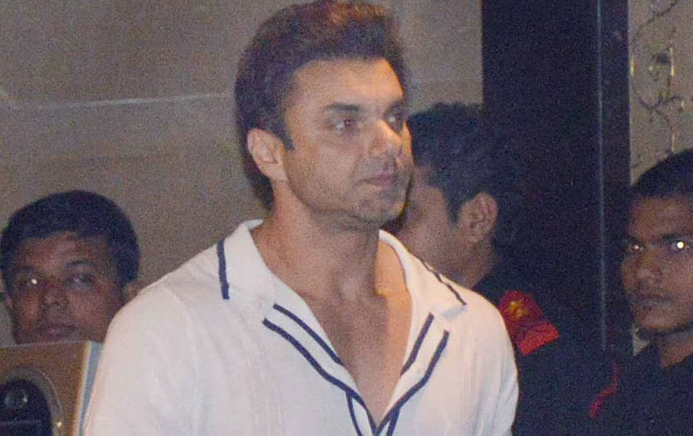 `WITH THE FAMILY: Sohail Khan` at Alvira and Atul Agnihotri's grand bash at their residence in Bandra. Pic Courtesy: DNA