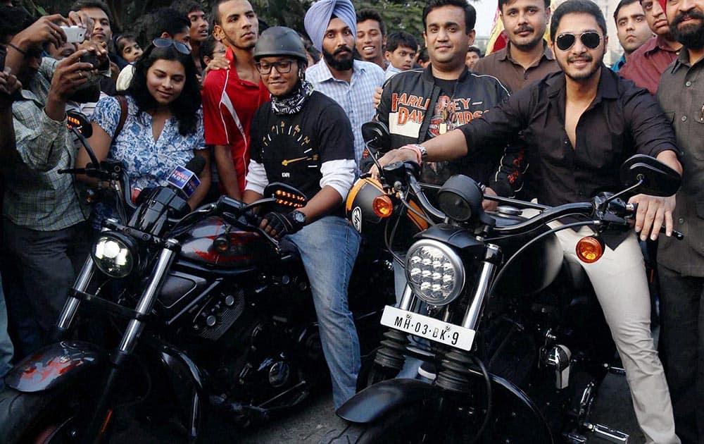 Actor Shreyas Talpade at 'Harley Davidson' bike rally.