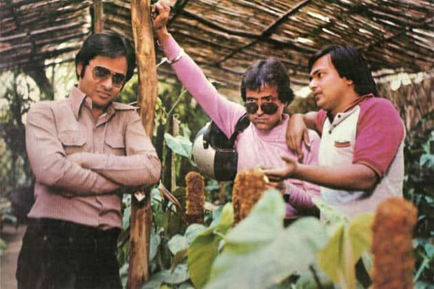 Farooq Sheikh, Rakesh Bedi and Ravi Baswani in a still from the movie.