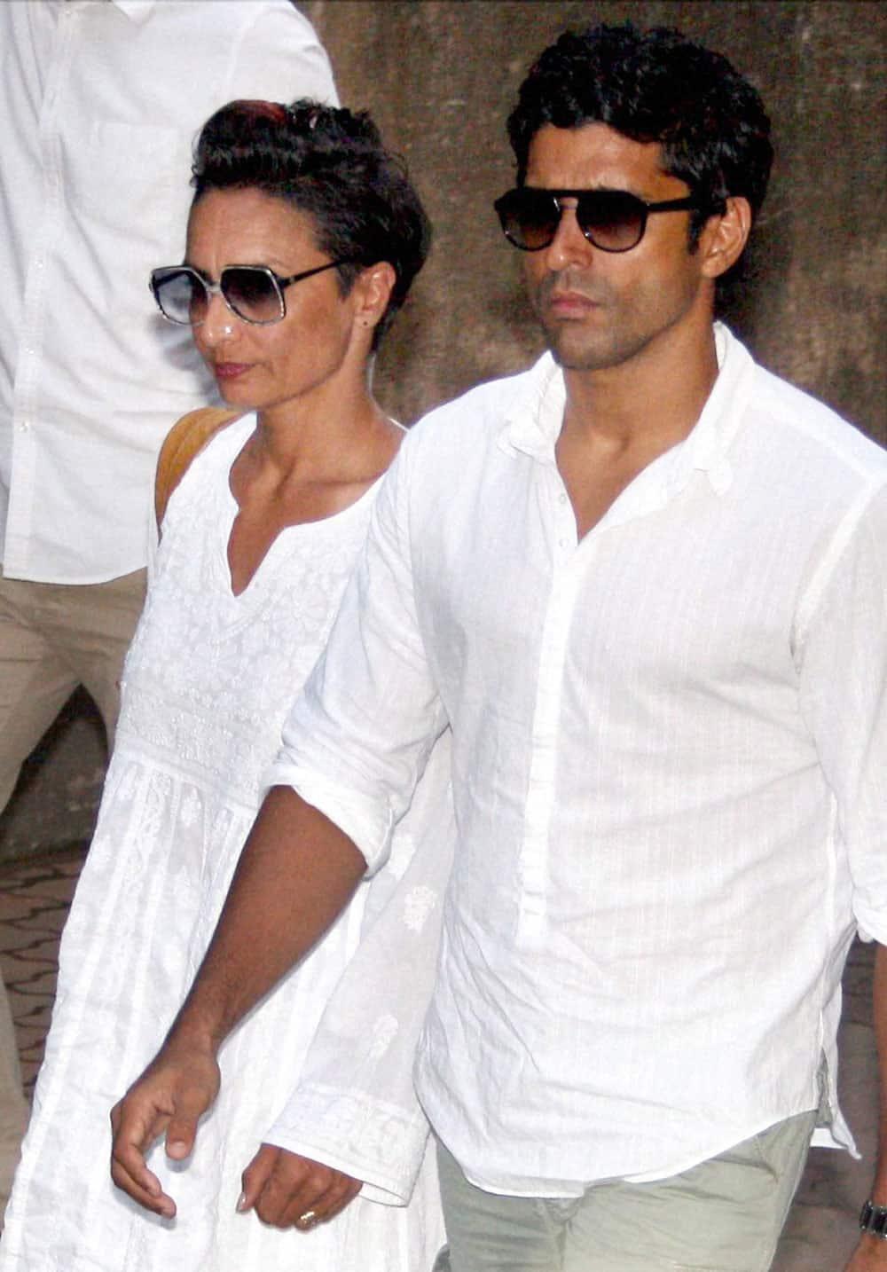 Farhan Akhtar with wife Adhuna Akhtar attend funeral of actor Farooq Shaikh in Mumbai.
