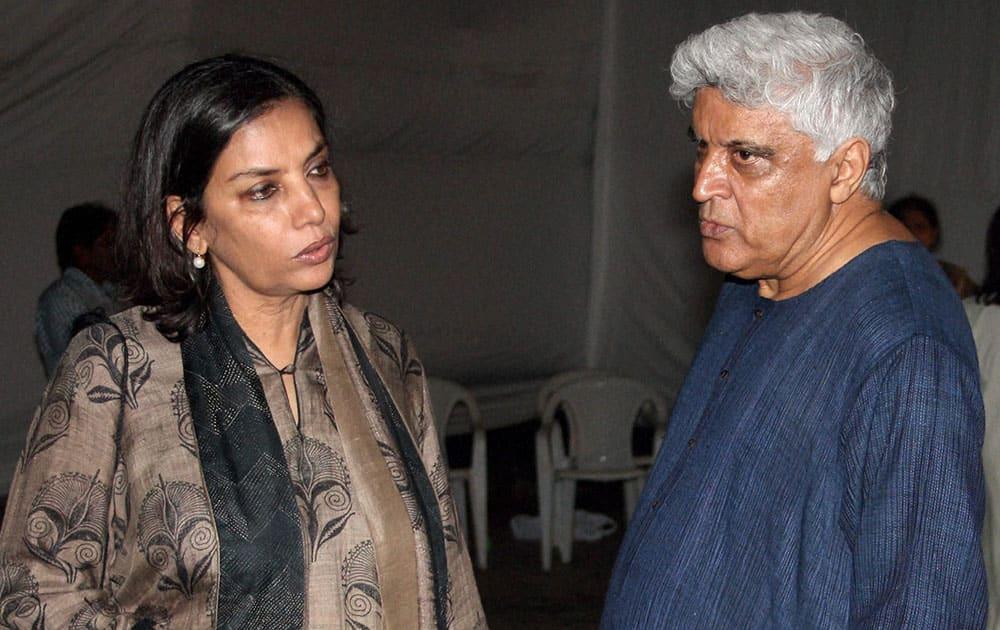 Actor Shabana Azmi and Javed Akhtar attend funeral of actor Farooq Shaikh in Mumbai.