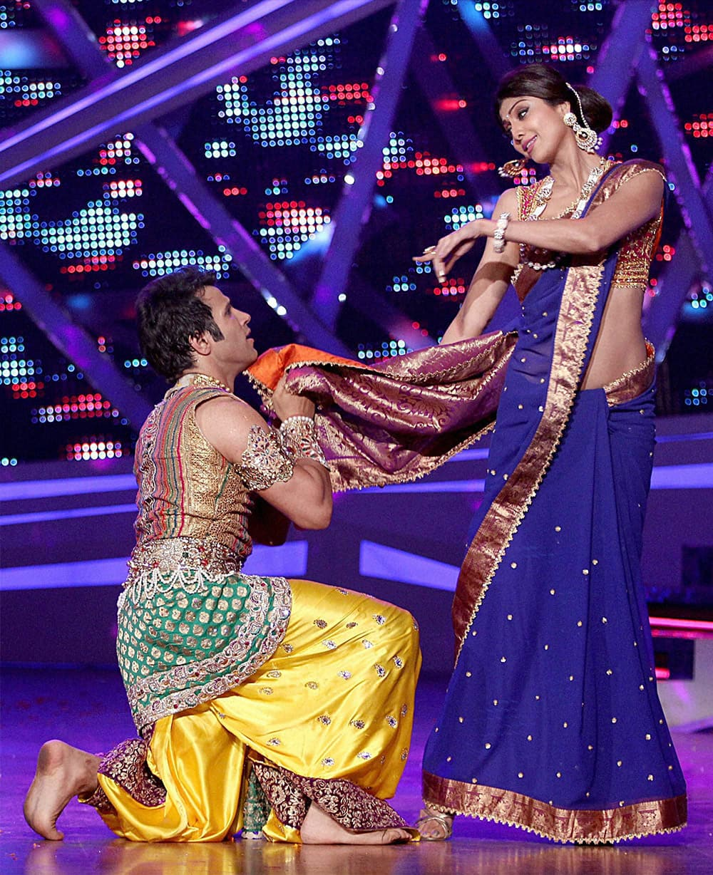 Bollywood actor Shilpa Shetty on the set of dance reality show in Mumbai.