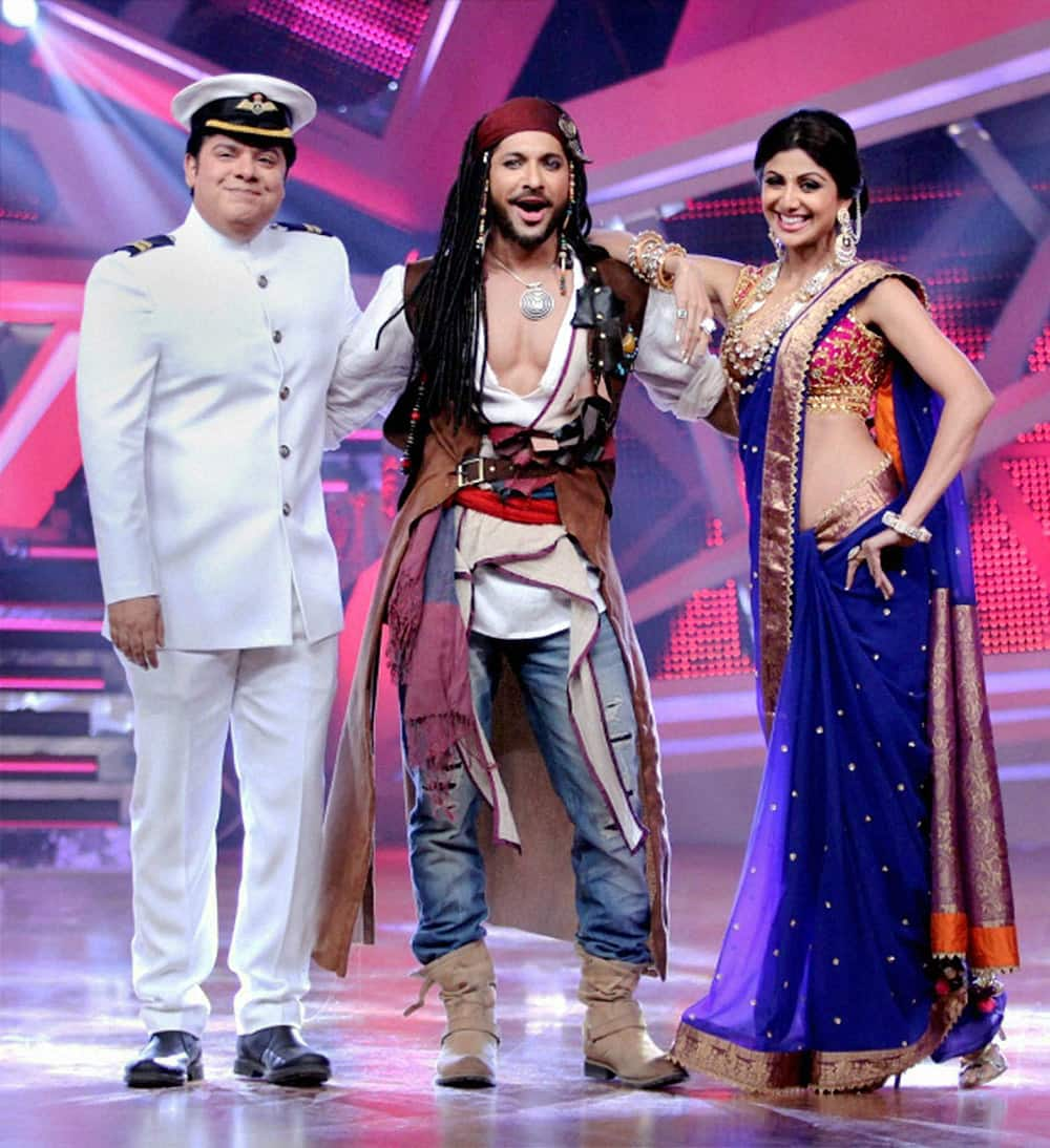 Bollywood actress Shilpa Shetty and filmmaker Sajid Khan with choreographer Terence Lewis, during their celebration of new year in Mumbai.