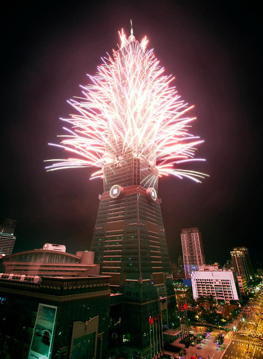 A fireworks display is set off from the Taipei101 skyscraper during New Year's Eve celebrations in Taipei, Taiwan.