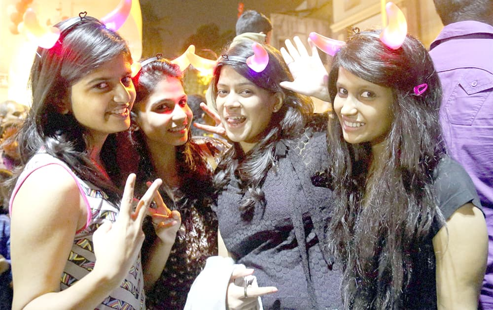 A group of girls celebrating on the eve of new year 2014 in Thane.