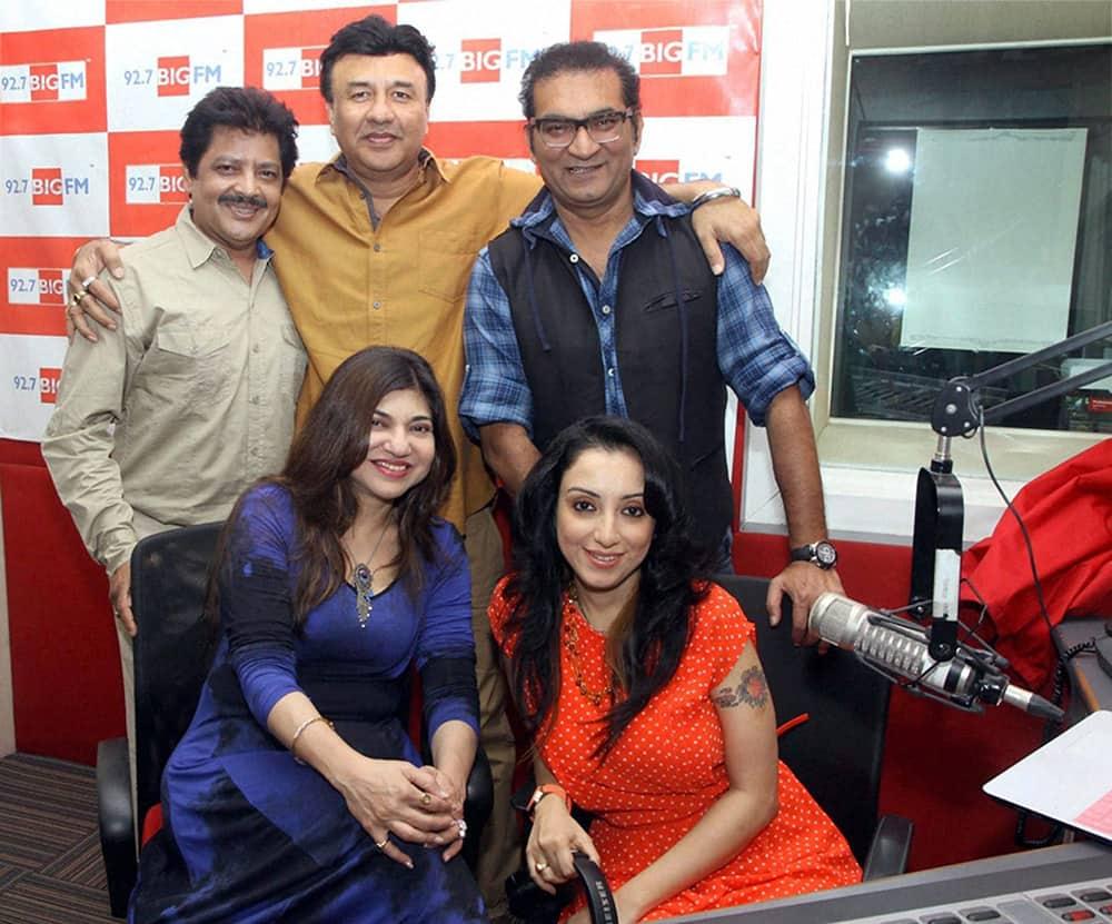 Music maestros Anu Malik, Udit Narayan, Alka Yagnik, Abhijeet with Madhurima Nigam during their New year performance for 92.7 BIG FM in Mumbai.