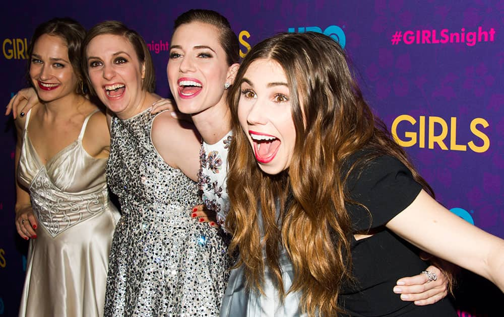 From left, Jemima Kirke, Lena Dunham, Allison Williams and Zosia Mamet attend the premiere of HBO's `Girls` third season in New York.