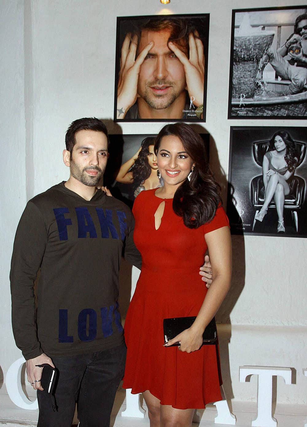 Bollywood actress Sonakshi Sinha with her brother Luv at the launch of photographer Dabboo Ratnani's annual Bollywood calendar in Mumbai.