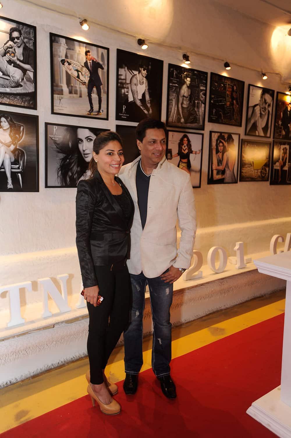Renu Bhandarkar (L) and Madhur Bhandarkar (R) during the launch of Dabboo Ratnani's calendar 2014 at Olive, Bandra in Mumbai. Pic Courtesy: DNA
