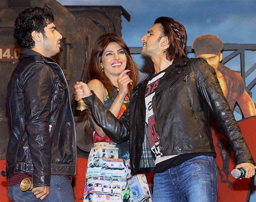 Bollywood actors Ranveer Singh, Priyanka Chopra and Arjun Kapoor during the music launch of upcoming film Gunday in Mumbai.