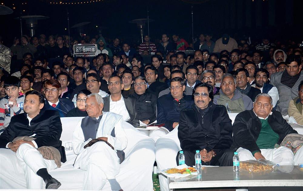Samajwadi Party chief Mulayam Singh Yadav, UP CM Akhilesh Yadav and others at Saifai Mahotsav in Etawah district.