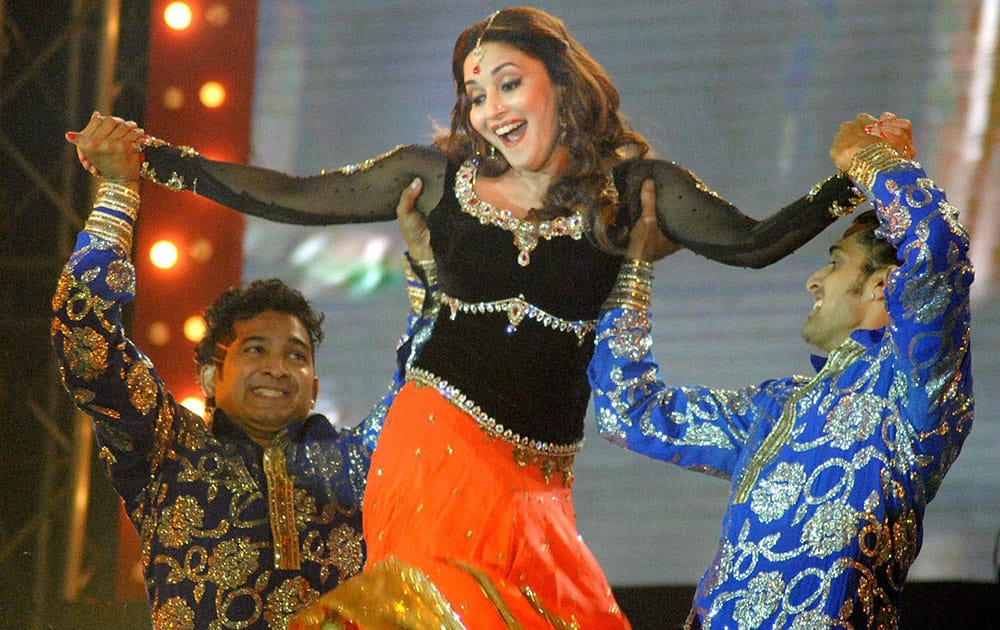 Bollywood star Madhuri Dixit performs at Saifai Mahotsav in Etawah district.