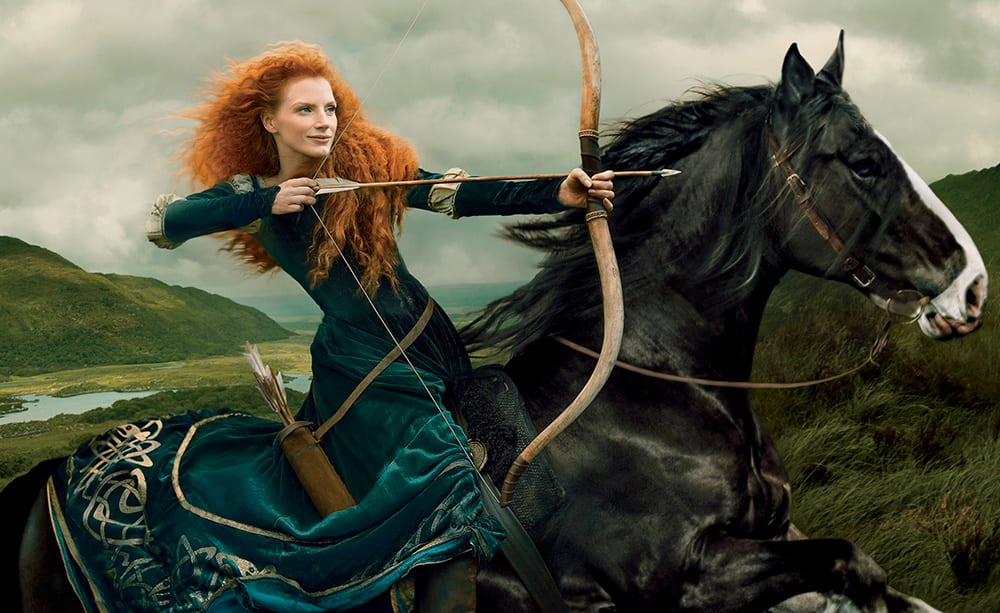 This photo illustration by Annie Leibovitz, released by Disney Parks shows actress Jessica Chastain portraying Disney character Merida from the animated film 'Brave.'