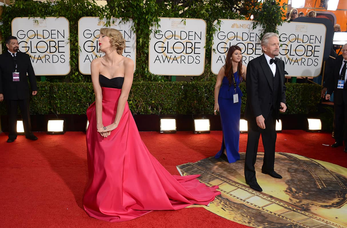 Taylor Swift arrives at the 71st annual Golden Globe Awards at the Beverly Hilton Hotel.