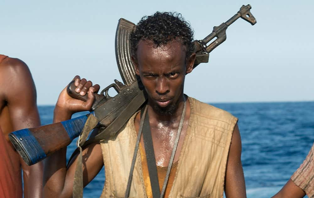 This photo released by Sony - Columbia Pictures shows Barkhad Abdi in a scene from the film, Captain Phillips. Abdi was nominated for an Academy Award for best supporting actor, for his role in the film.