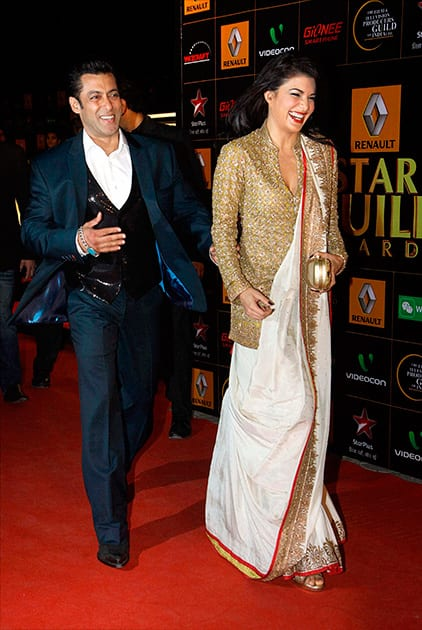 Salman Khan and Jacqueline Fernandez during an Award show in Mumbai.