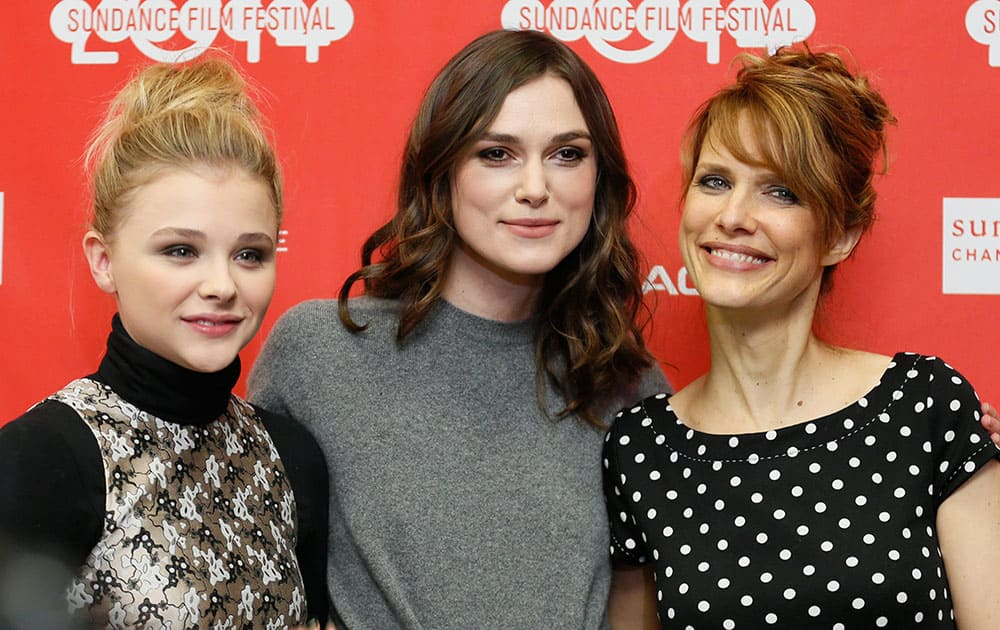 Cast members Chloe Grace Moretz, left, and Keira Knightley, center, pose with director Lynn Shelton at the premiere of the film