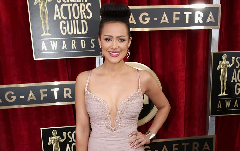 Nathalie Emmanuel arrives at the 20th annual Screen Actors Guild Awards at the Shrine Auditorium in Los Angeles.