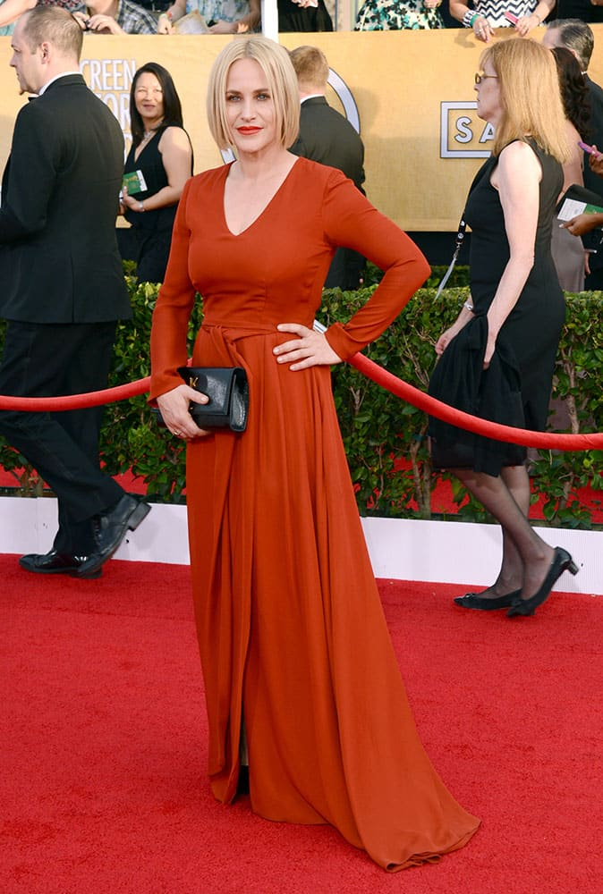 Patricia Arquette arrives at the 20th annual Screen Actors Guild Awards at the Shrine Auditorium.