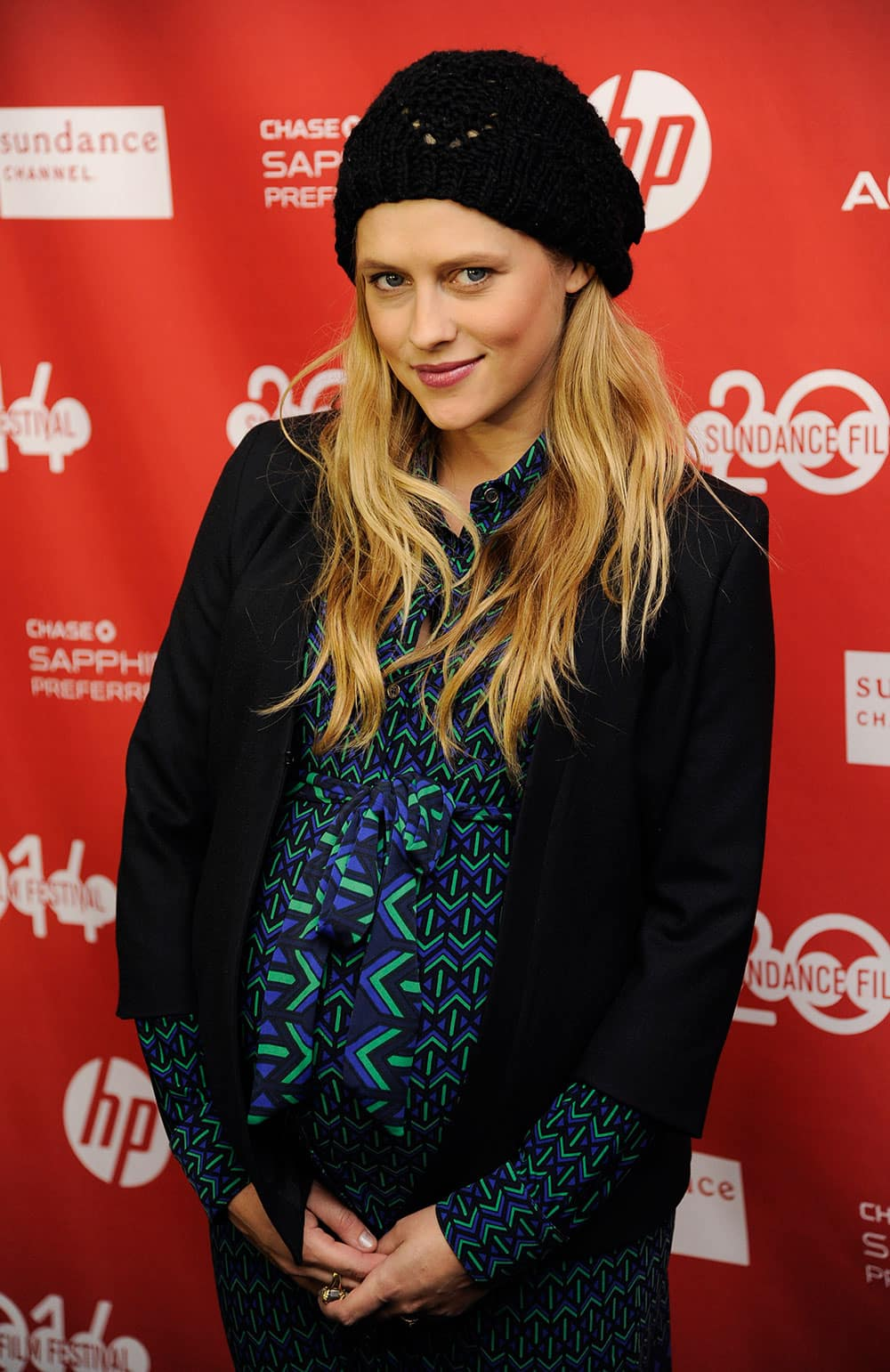 Actress Teresa Palmer poses at the premiere of the film `Happy Christmas` at the 2014 Sundance Film Festival, in Park City, Utah.