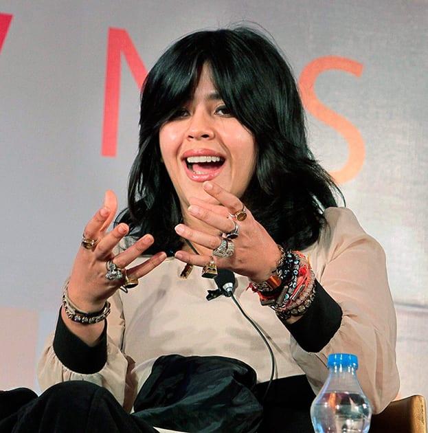 Flim producer Ekta Kapoor during a session at the Jaipur Literature Festival in Jaipur.