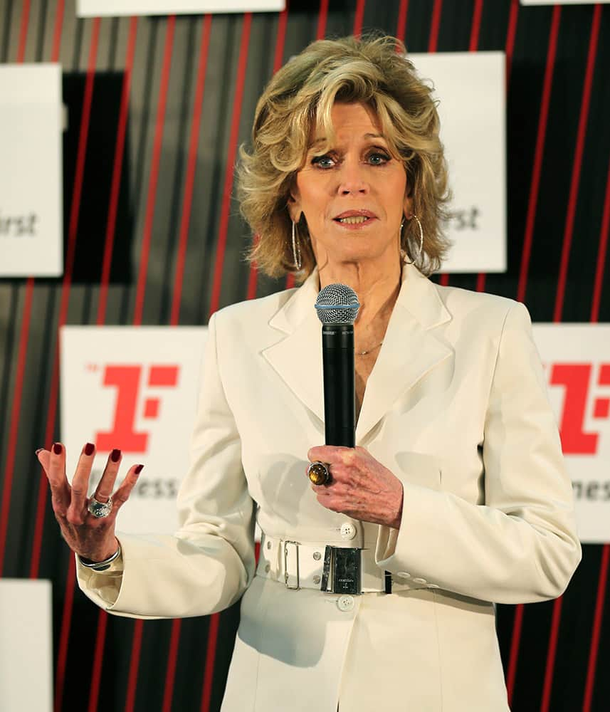 Academy Award winning actress and fitness icon Jane Fonda speaks during the launch of a re-branding of a fitness center in Sydney.