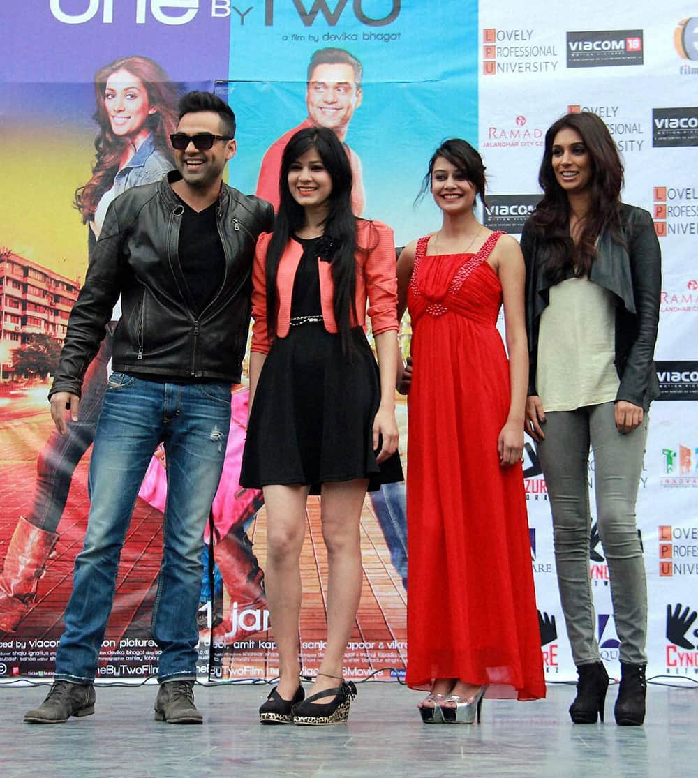 "Bollywood actor Abhay Deol and actress Preeti Desai promote their movie ""One By Two"" in Jalandhar."