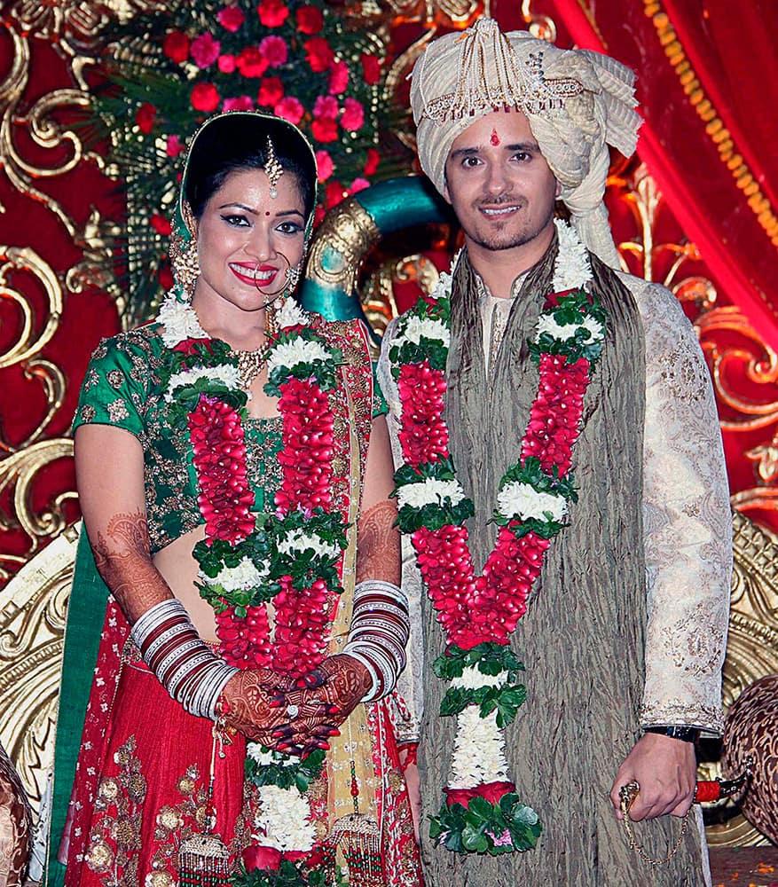 Bollywood film actress Amita Pathak and singer Raghav Sachar during their wedding ceremony in Mumbai.