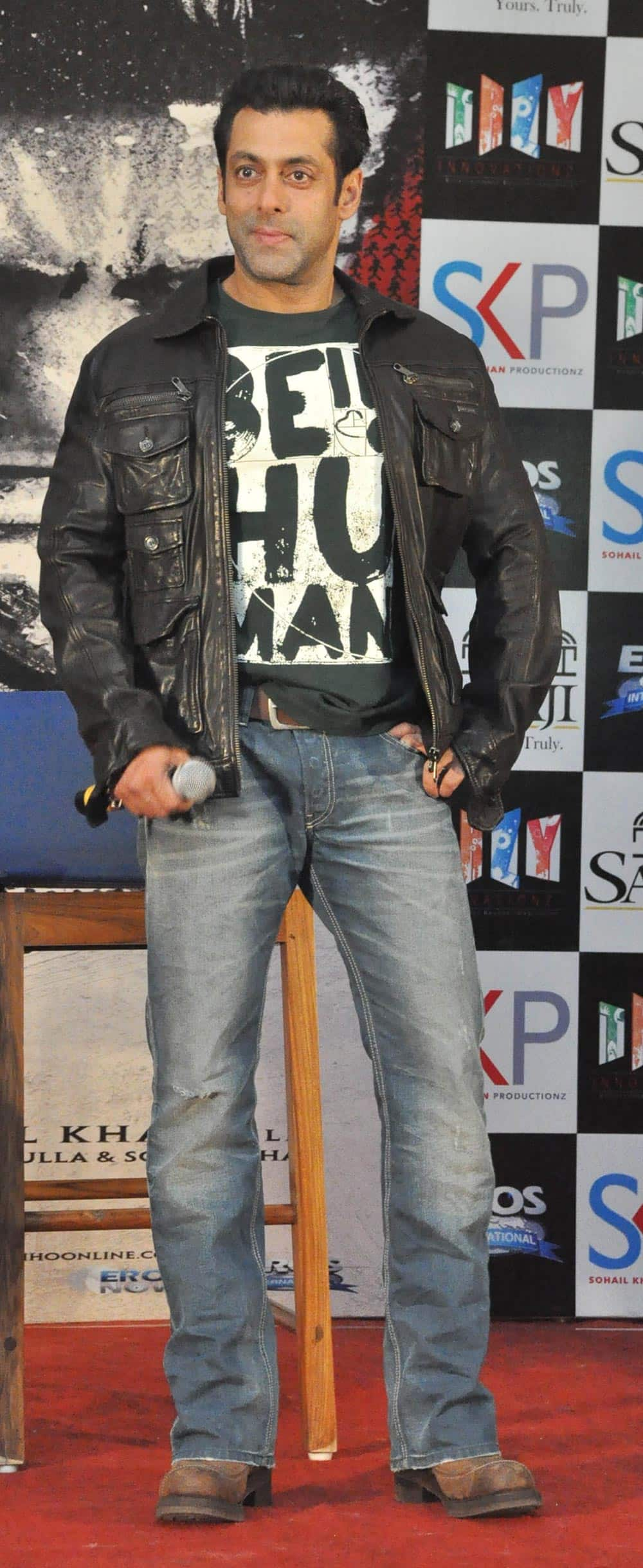 Bollywood actor Salman Khan at the promotion of his film 'JAI HO', in Indore.- Ravindra Sethiya.DNA