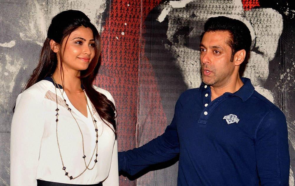Bollywood actor Salman Khan with Daisy Shah during the promotion of their film 'Jai ho' in Mumbai.