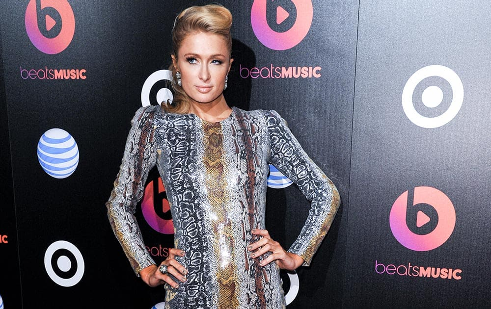 Paris Hilton arrives at Beats Music Launch Party at the Belasco Theatre, in Los Angeles.