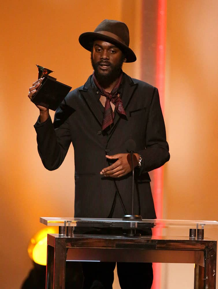 Gary Clark Jr. accepts the best traditional R&B performance award for `Please Come Home` at the pre-telecast of the 56th annual GRAMMY Awards.