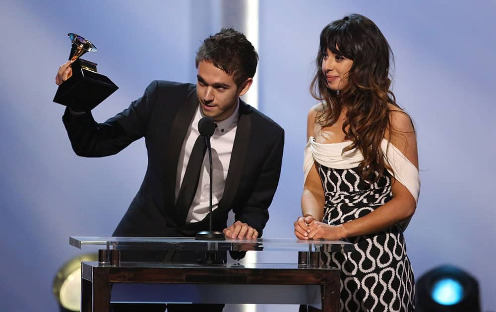 Zedd and Foxes accept the best dance recording award for `Clarity` at the pre-telecast of the 56th annual GRAMMY Awards.