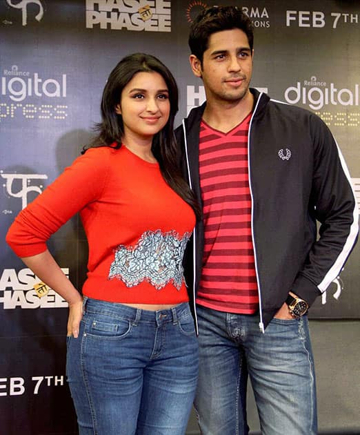 Bollywood actors Parineeti Chopra & Siddharth Malhotra during promotion of their upcoming film 'Hasee Toh Phasee' in Mumbai.