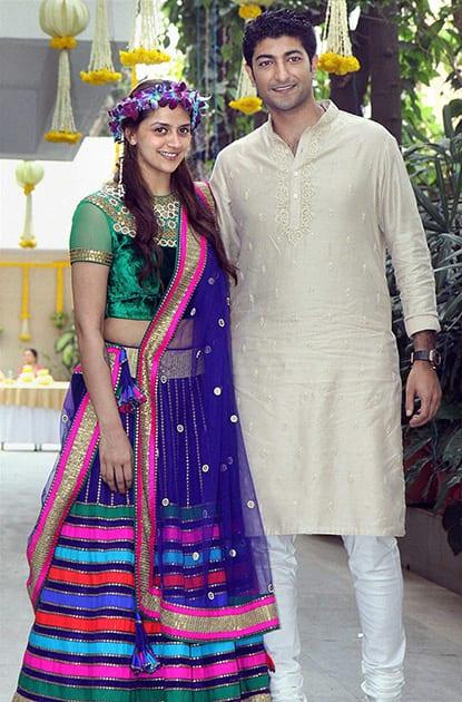 Hema Malini's younger daughter Ahana Deol with fiance Vaibhav Arora at the mehendi function in Mumbai.