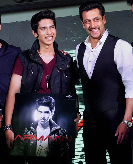 Salman Khan with singer Armaan Malik at his debut music album launch in Mumbai.
