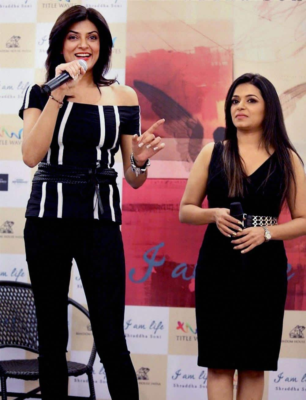 Bollywood Actress Sushmita Sen with Author Shraddha Soni, at the launch of her book 'I am Life' in Mumbai.