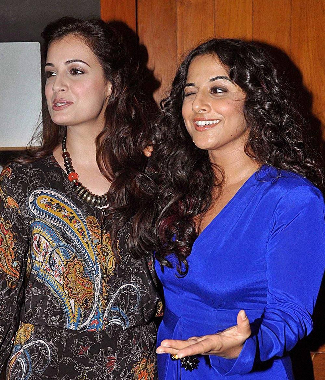 Bollywood actors Dia Mirza and Vidya Balan during the wrap up party of film Bobby Jasoos in Mumbai.